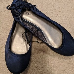 Express new corset lace back flats